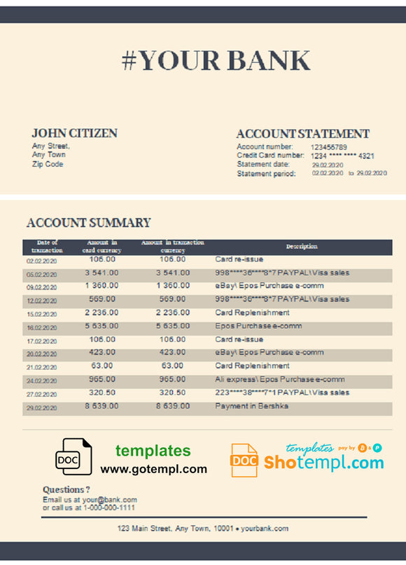 # diamond blue universal multipurpose bank statement template in Word format