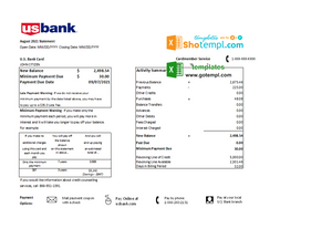USA U.S. bank credit card statement template in .xls and .pdf file format