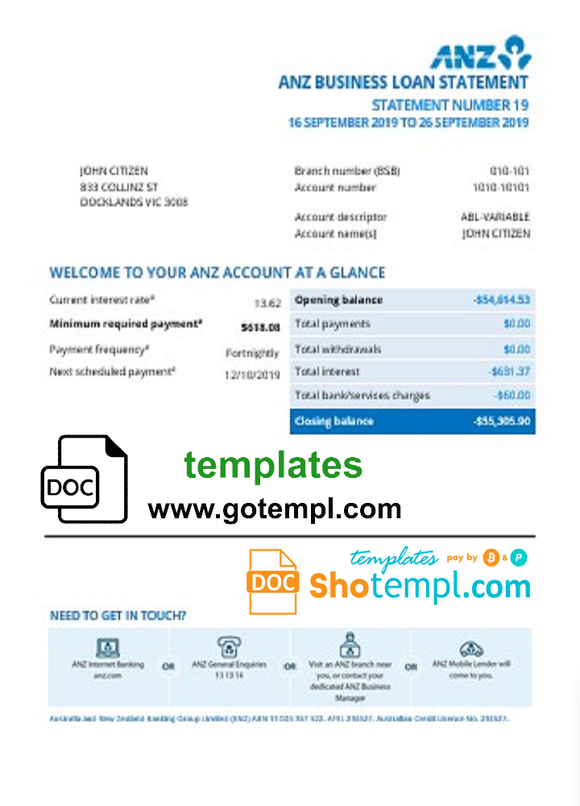 Australia ANZ proof of address bank statement template in Word and PDF format