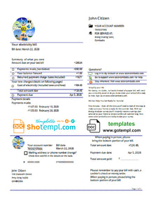 Cambodia Solar Green Energy Cambodia Co utility bill template in Word and PDF format