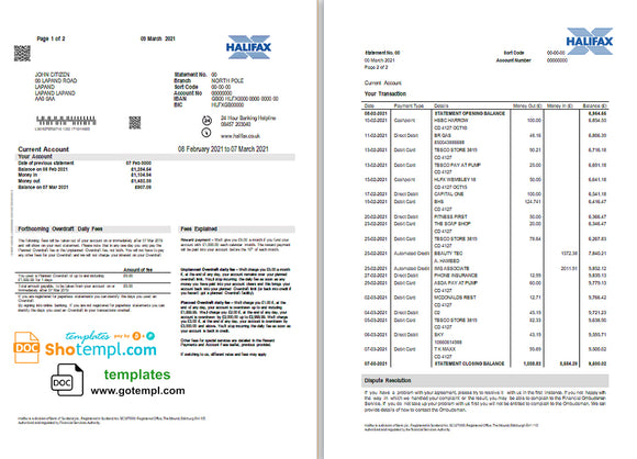 United Kingdom Halifax bank proof of address statement template in Word and PDF format (2 pages)