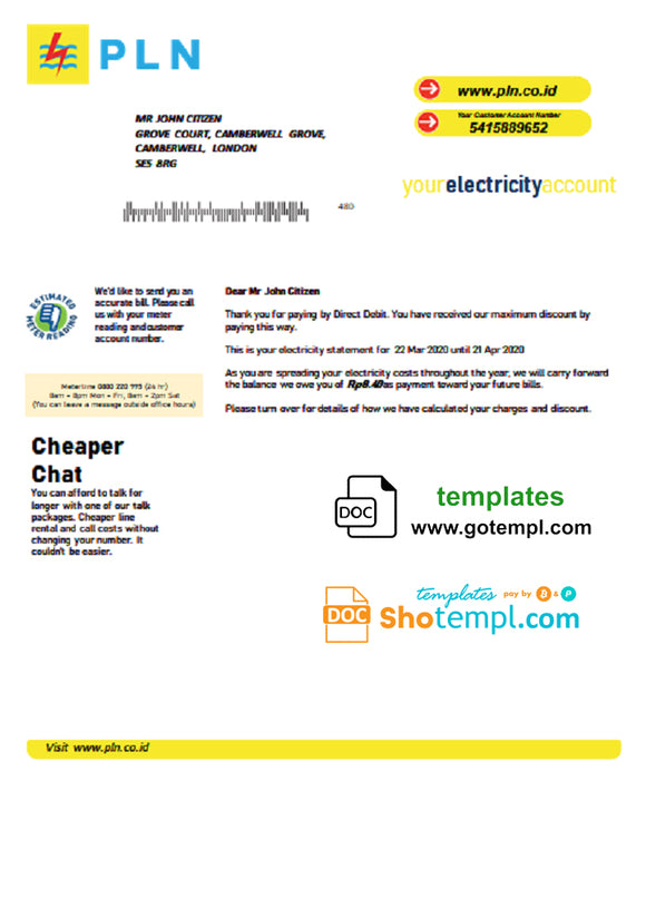 Indonesia PLN electricity utility bill template in Word and PDF format