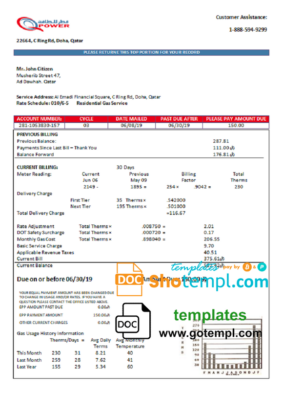 Qatar Power Company electricity utility bill template in Word and PDF format