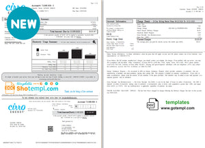 USA Texas Cirro Energy utility bill template in Word and PDF format (3 pages)