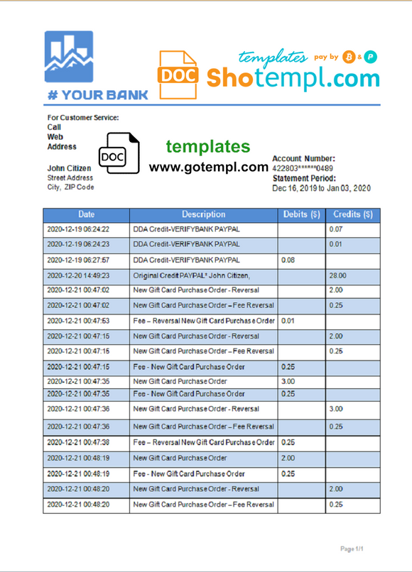 # art shadow universal multipurpose bank statement template in Word format