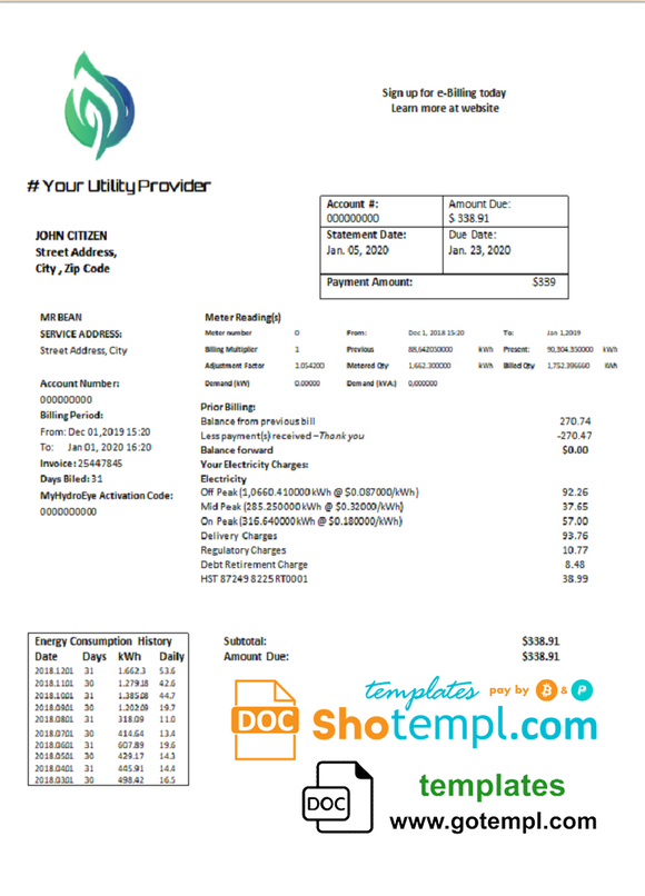 # value energy universal multipurpose utility bill template in Word format