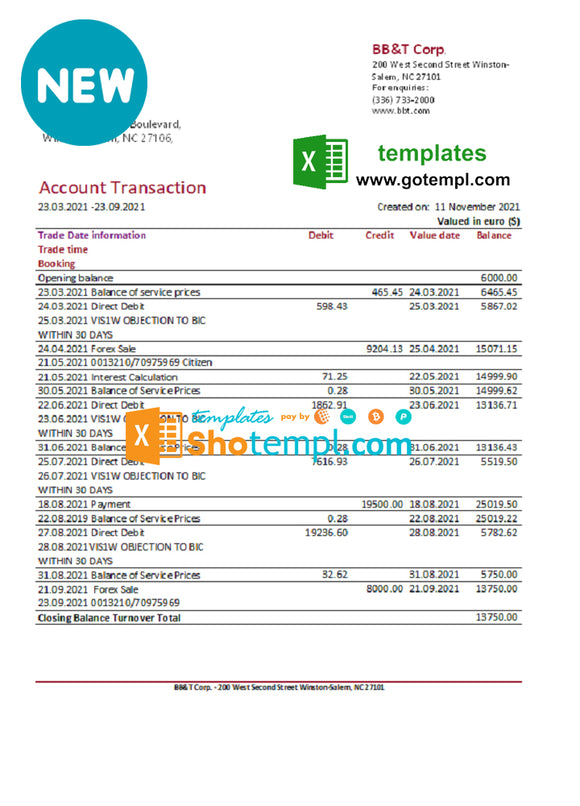USA BB&T Corp. bank statement easy to fill template in .xls and .pdf file format