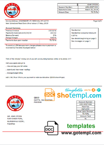 Pakistan Quetta Electric Supply Company electricity utility bill template in Word and PDF format