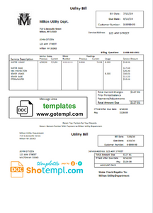 USA Massachusetts Milton water utility bill template in Word and PDF format