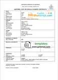 Australia Northern Territory of Australia birth certificate template in Word format