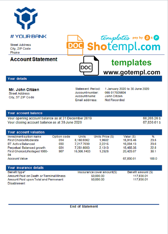 # blue range universal multipurpose bank statement template in Word format
