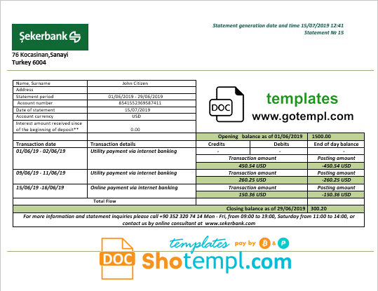 Turkey Sekerbank bank statement template in .doc and .pdf format, fully editable
