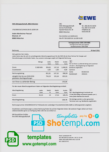 Germany EWE utility bill template, fully editable in PSD format