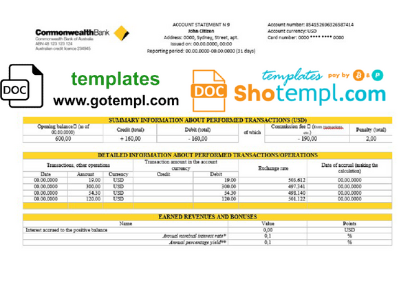 Australia Commonwealth account proof of address bank statement template in .doc and .pdf format