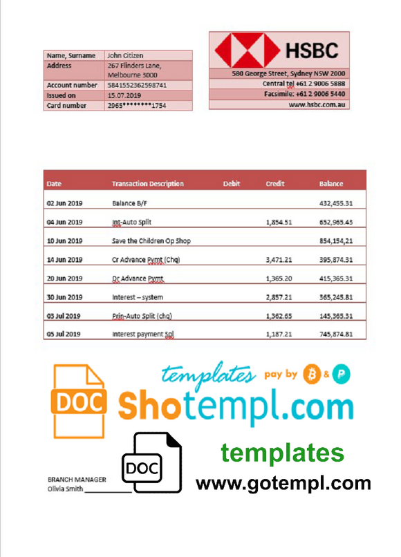 Australia HSBC bank statement template fully editable in Word and PDF format