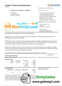 USA PNC bank proof of address statement template in Word and PDF format