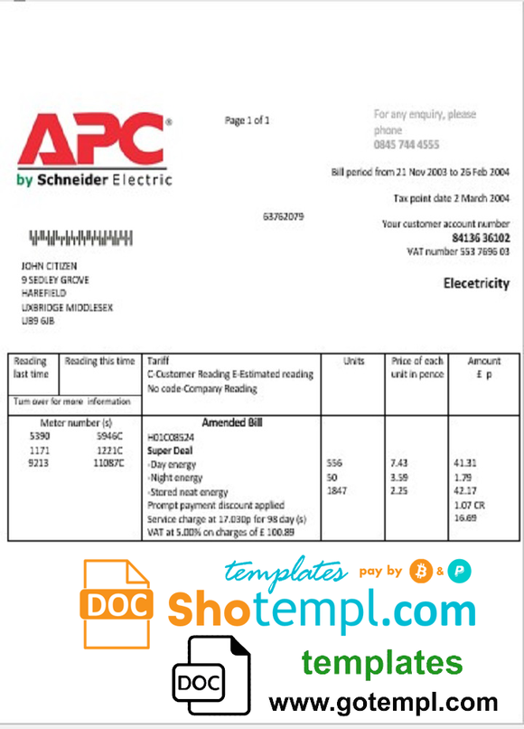 United Kingdom APC electricity utility bill template in Word and PDF format