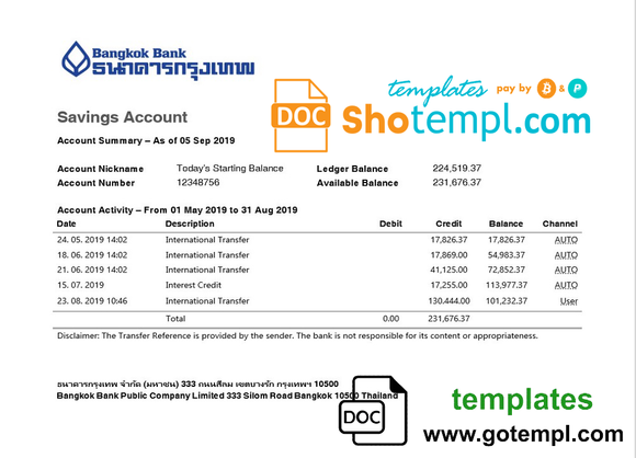 Thailand Bangkok Bank Savings Account statement template in Word and PDF format