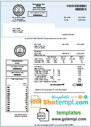 USA Florida water utility bill template in Word and PDF format
