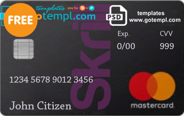 Skrill Mastercard Debit Card template in PSD format, fully editable
