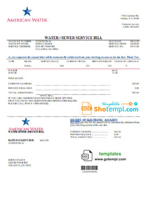 USA Georgia American Water utility bill template in Word and PDF format