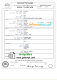 Australia New South Wales birth certificate template in Word format, version 2