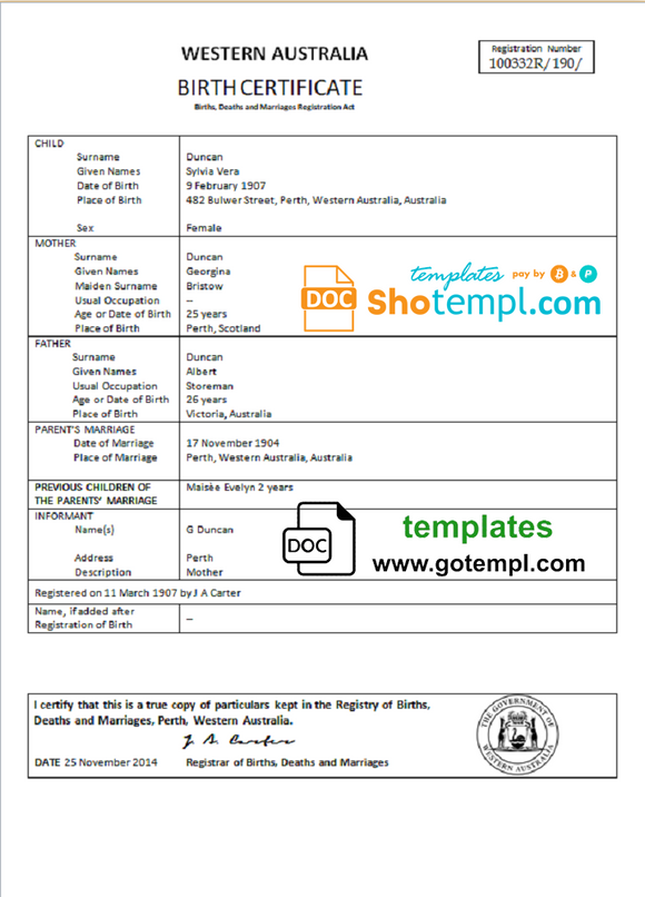 Australia Western Australia birth certificate template in Word format, version 1