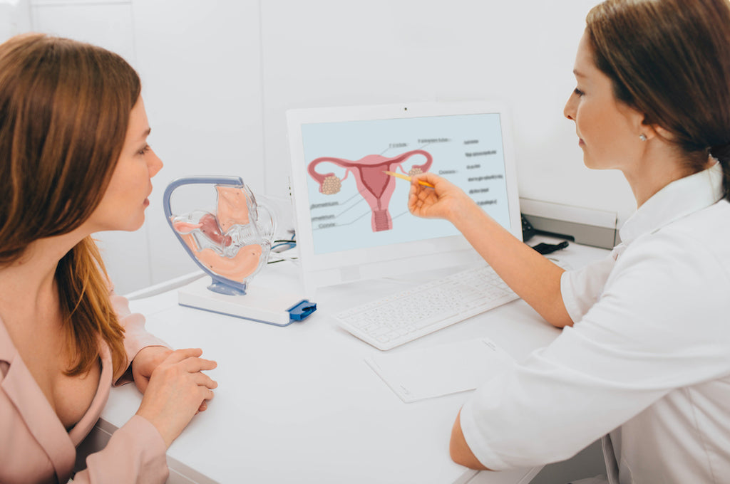 doctor showing her female patient a diagram of a uterus