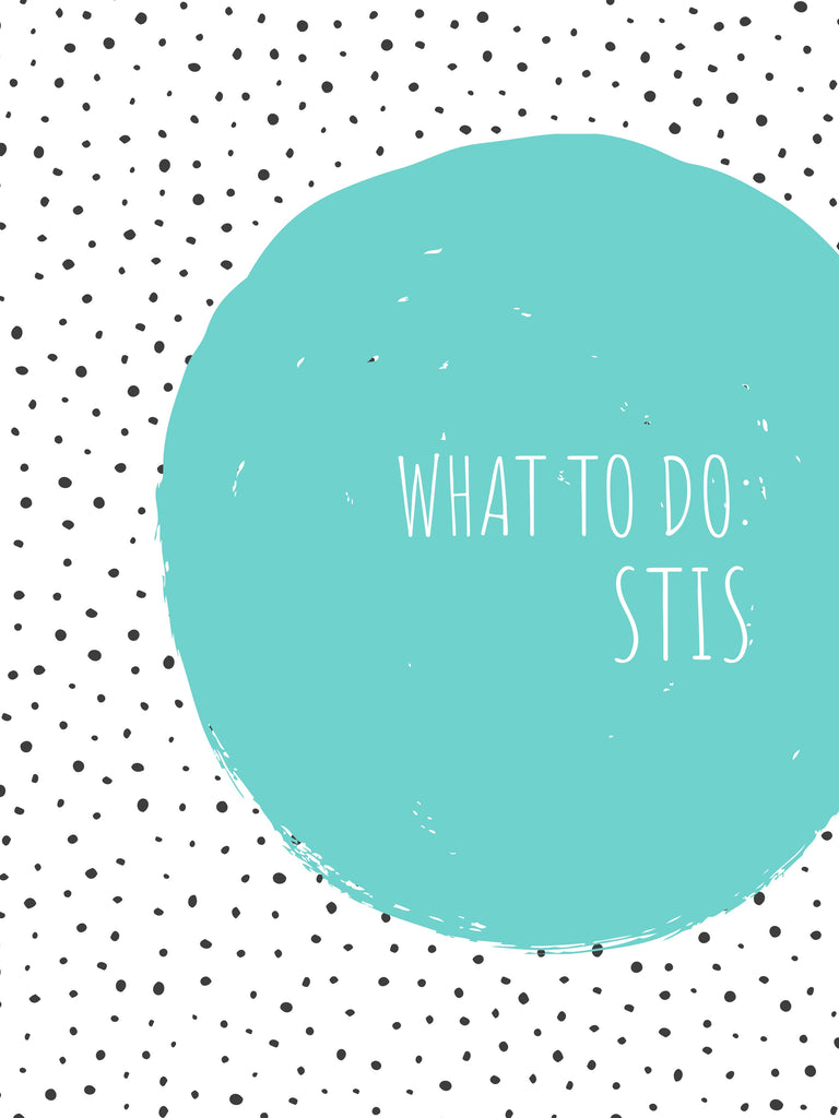 "text reading ""what to do STI's"" in a blue circle, on a white background with black dots"