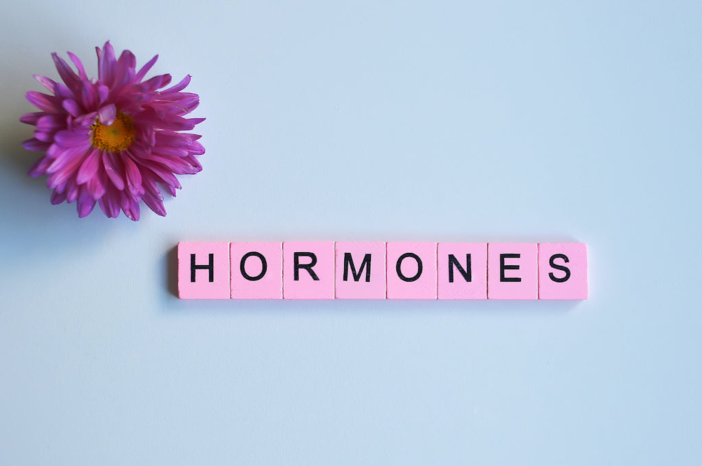 """pink scrabble blocks used to spell out """"hormones"""""""
