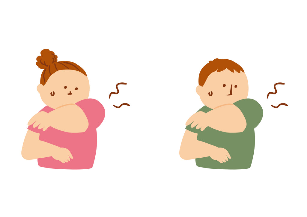 cartoon girl and boy, both noticing smell coming from armpit