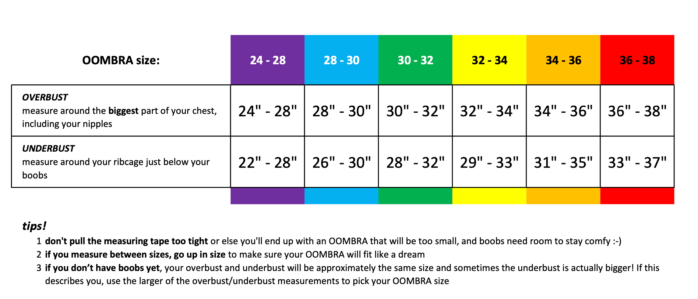 OOMBRA sizing chart