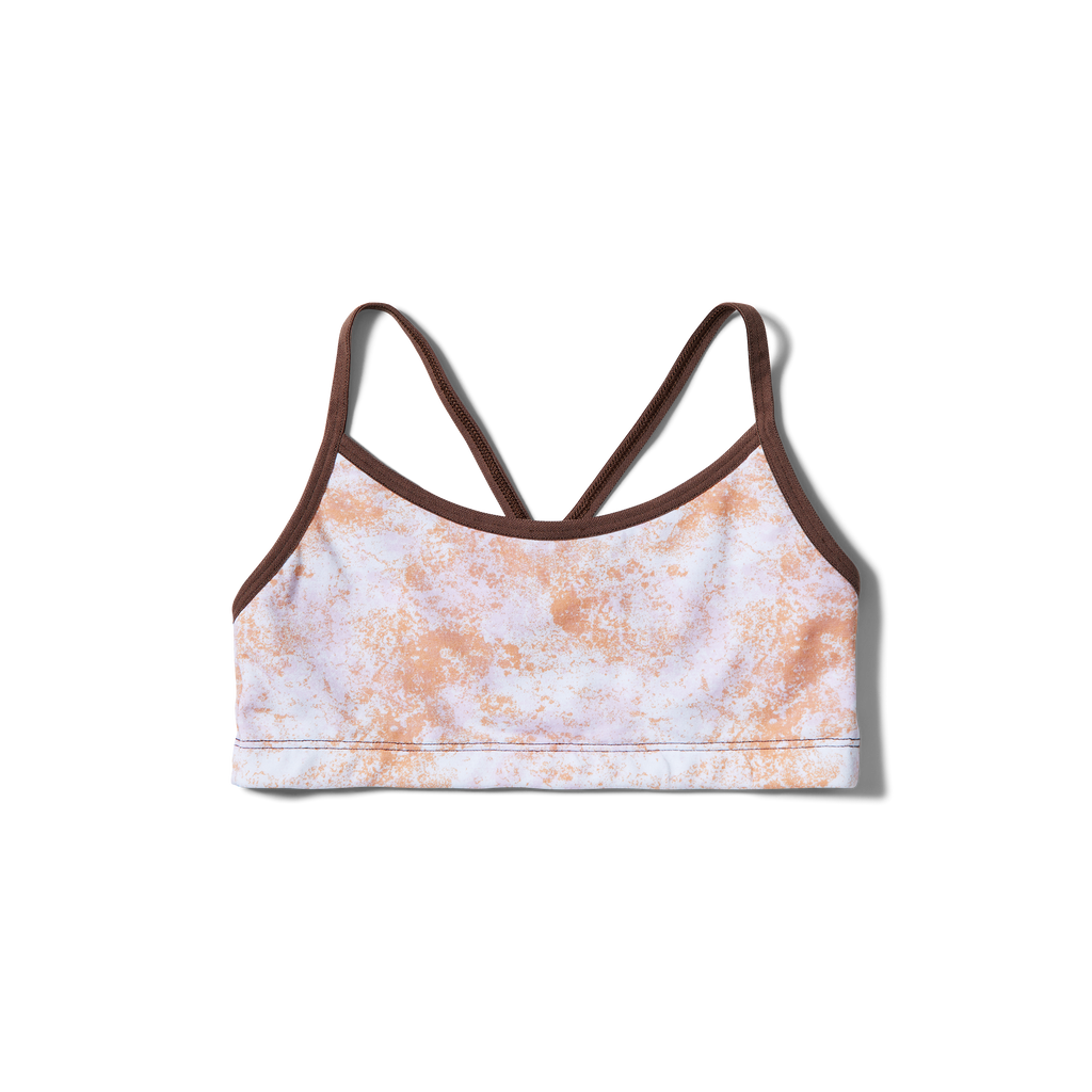 Crossed straps Orange splatter + Deep brown