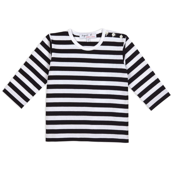 Black & white striped long sleeves T-shirt