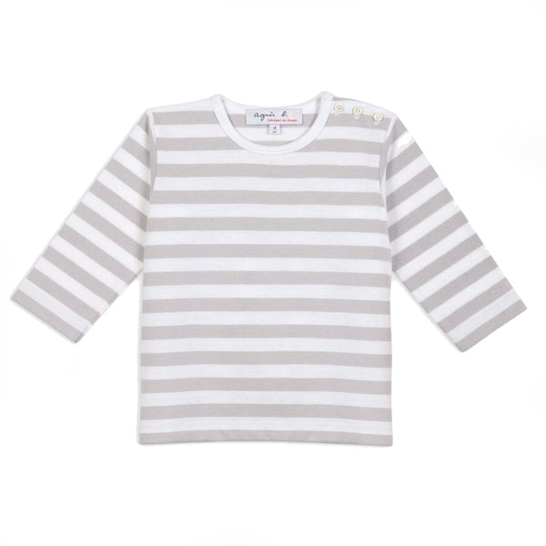 Grey & white striped long sleeves T-shirt