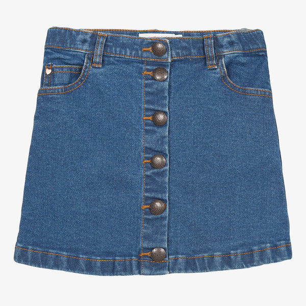 Buttoned denim skirt with trim detail