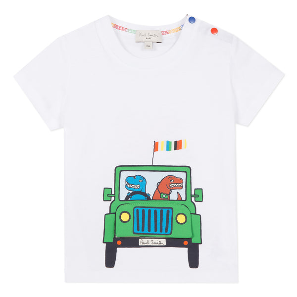 White T-shirt with dinos