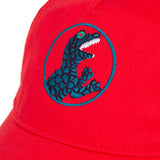 Red cap with dino visual