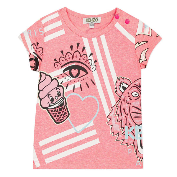 Pink T-shirt with Kenzo icons