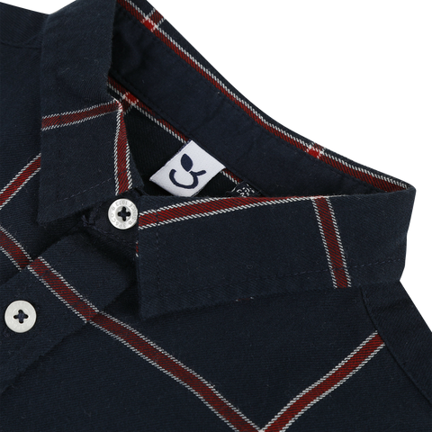 *NEW* Navy blue check print twill shirt
