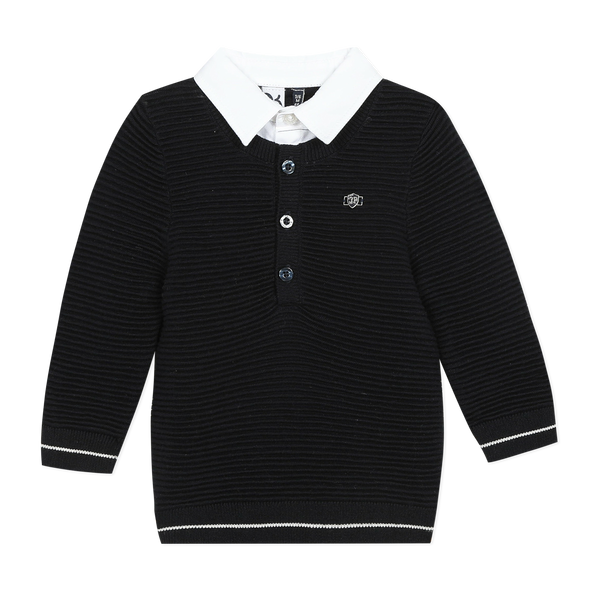 Navy blue sweater with faux shirt collar