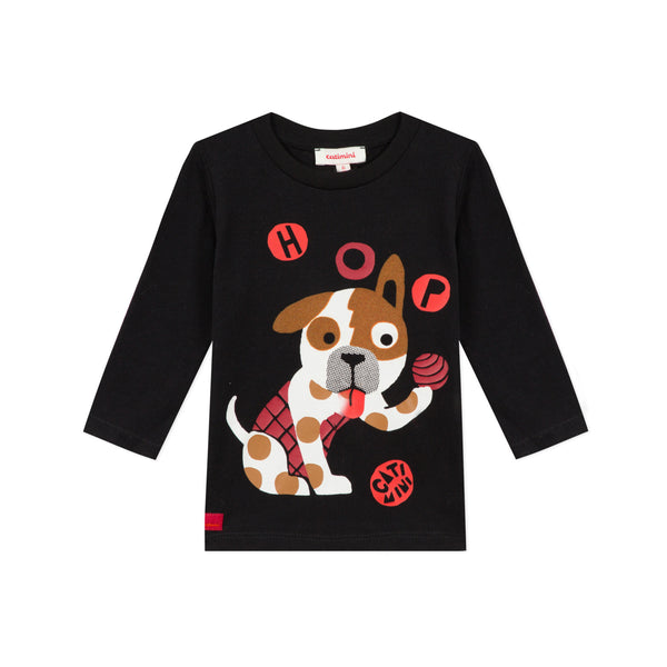 *NEW* Black T-shirt with juggling dog