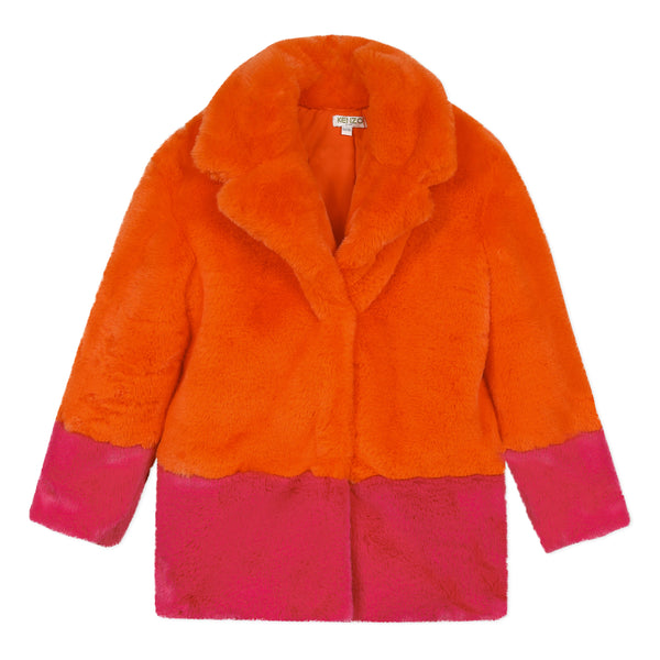 Pink and orange faux fur coat