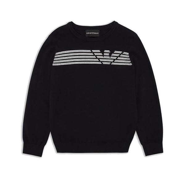 Black knit sweater with ottoman logo