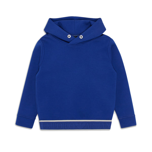 Blue hoodie sweater with logo hemline