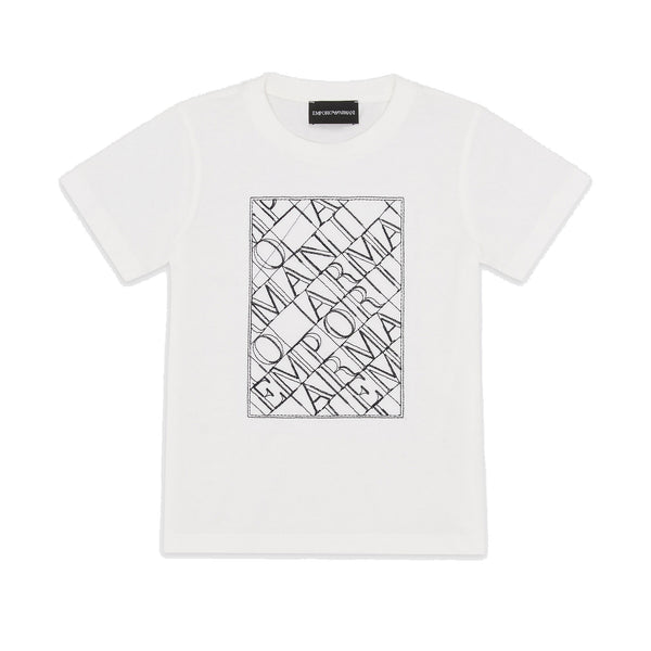 White T-shirt embroidered lettering