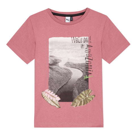 Pink T-shirt with amazonia visual