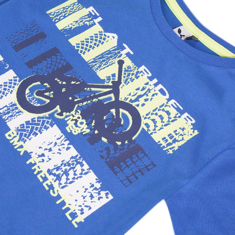 Blue T-shirt with bike visual