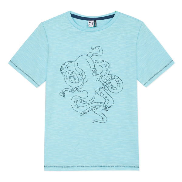 Turquoise T-shirt with embroidered anchor
