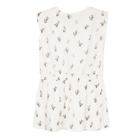 White dress with cactus print